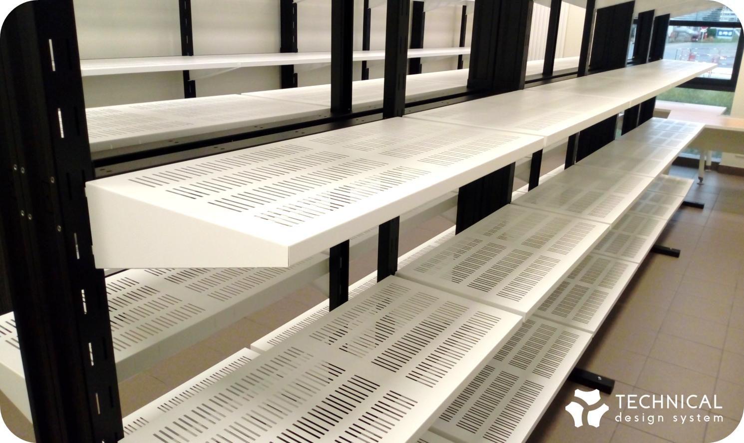 mobilier métallique, étagères métalliques, rayonnage réalisés par tds (technical design system)